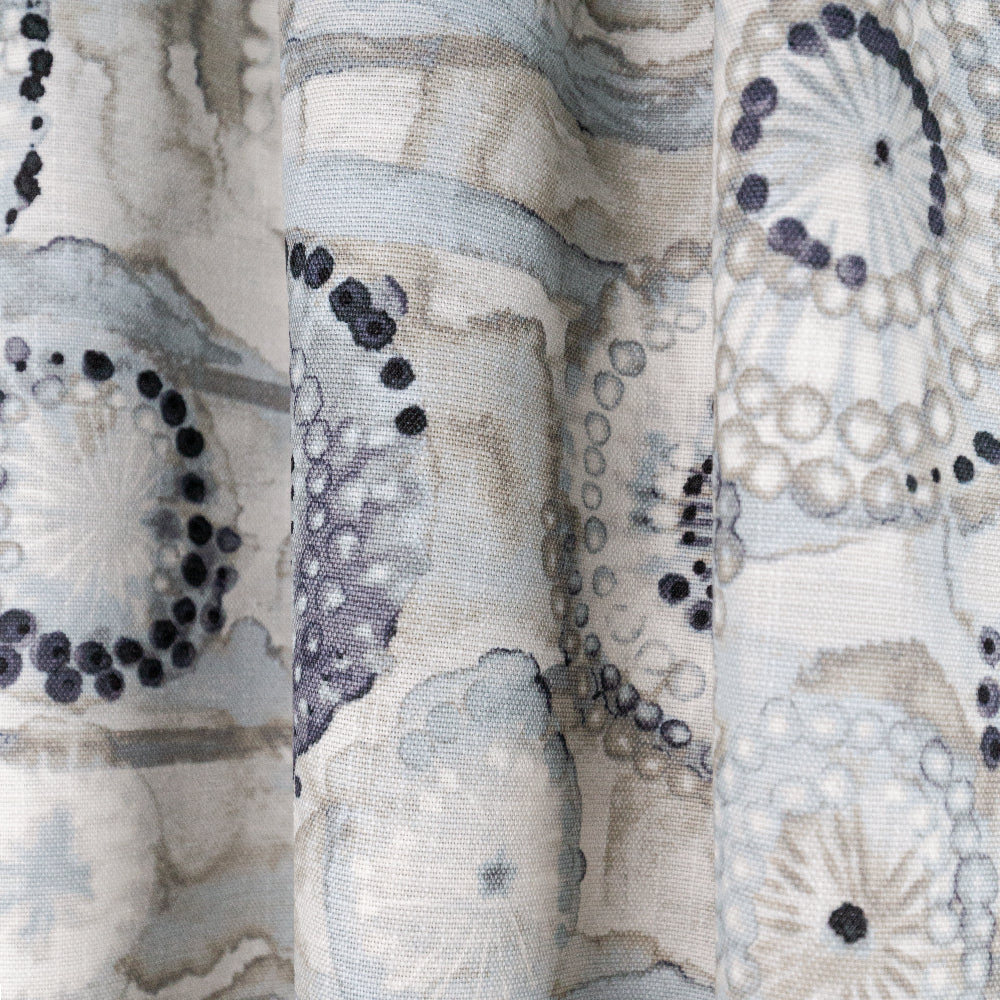 Majorca Fabric, Smoke, a grey sea floral print Ellen Degeneres from Tonic Living