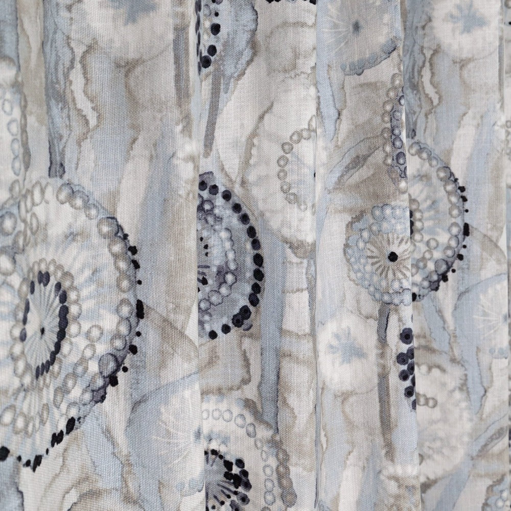 Majorca Fabric in Smoke by Ellen Degenres, a watery grey and blue floral from Tonic Living
