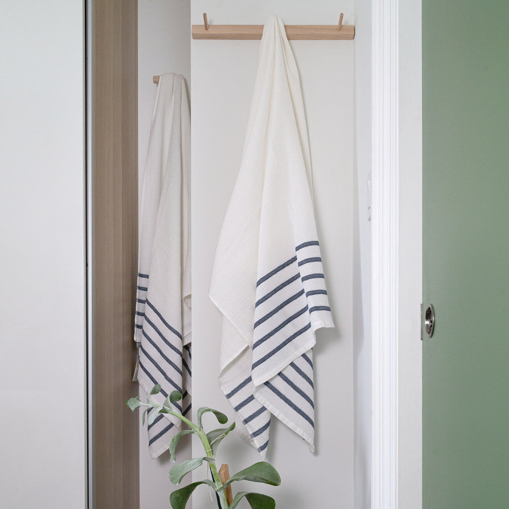 Waffle towel with washed navy stripe, Tonic Living
