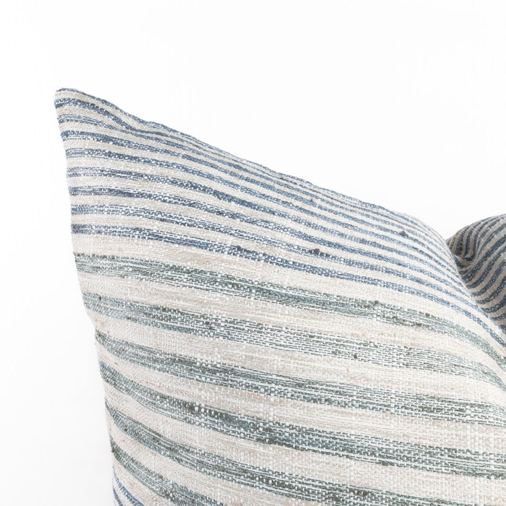 Maritime, Seaglass blue and green stripe pillow from Tonic Living