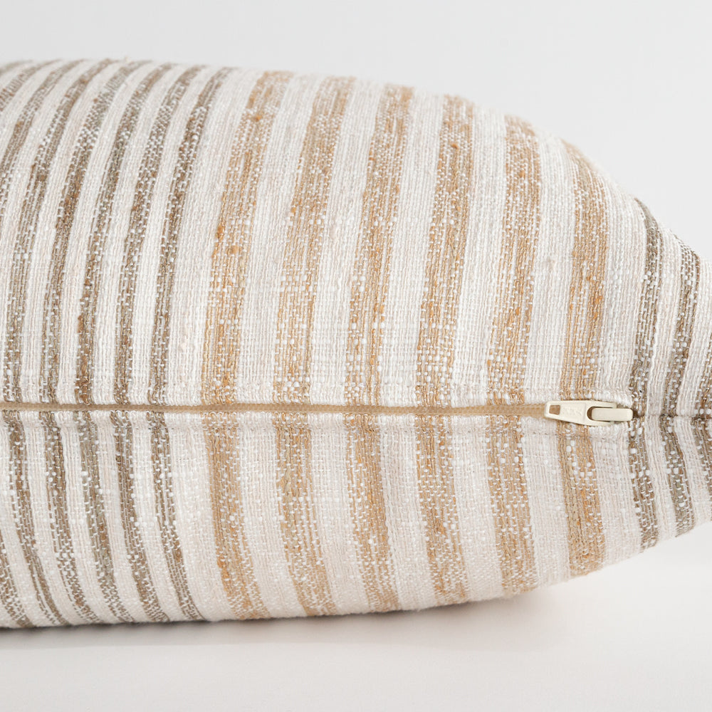 Maritime Stripe Hemp, a beige and brown stripe lumbar pillow from Tonic Living