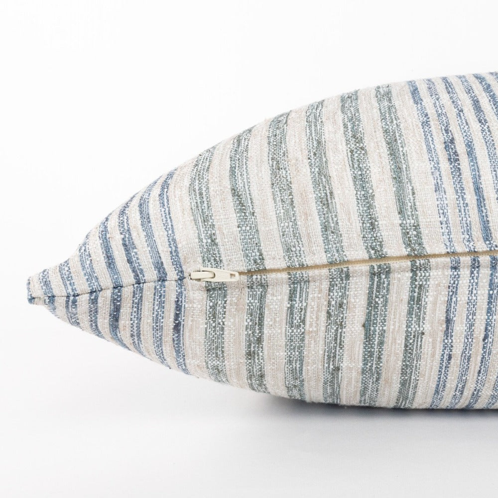 Maritime, Seaglass blue and green stripe bolster bed pillow from Tonic Living