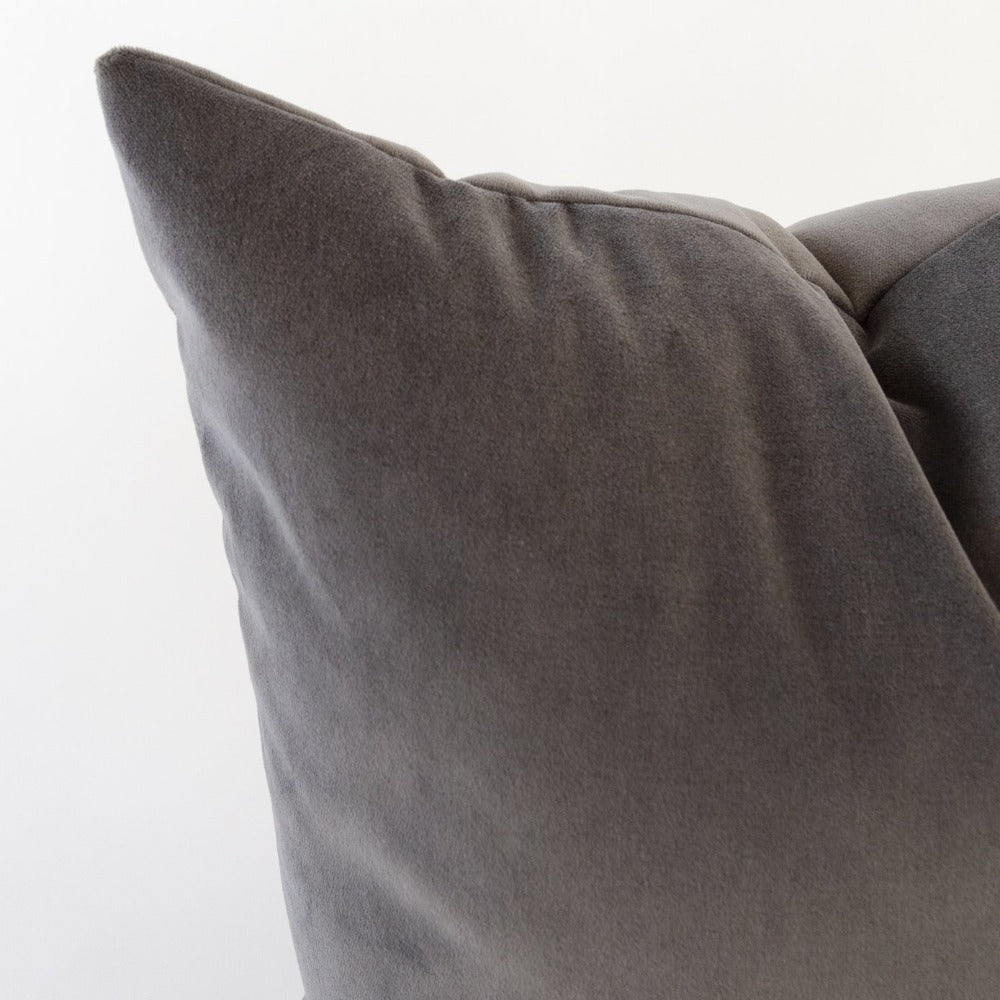 Mason Velvet Pillow, Shale- A deep grey soft velvet pillow from Tonic Living