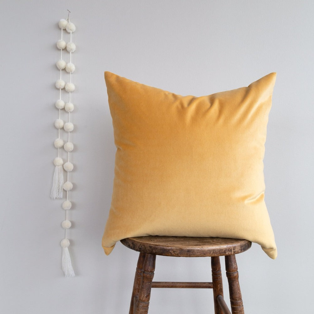 Mason velvet sunshine yellow pillow by Tonic Living