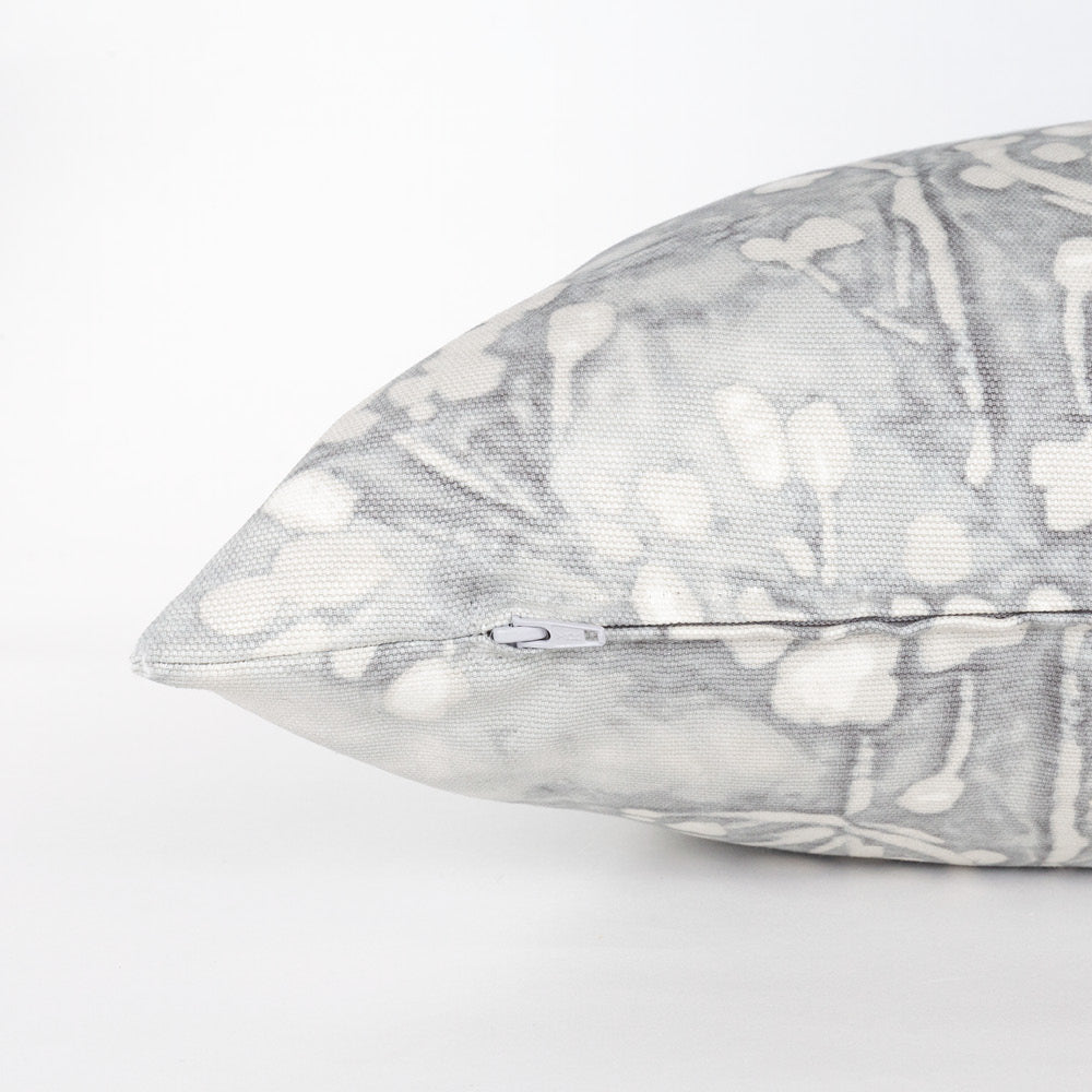 Meadow, Pebble gray floral bolster bed pillow from Tonic Living