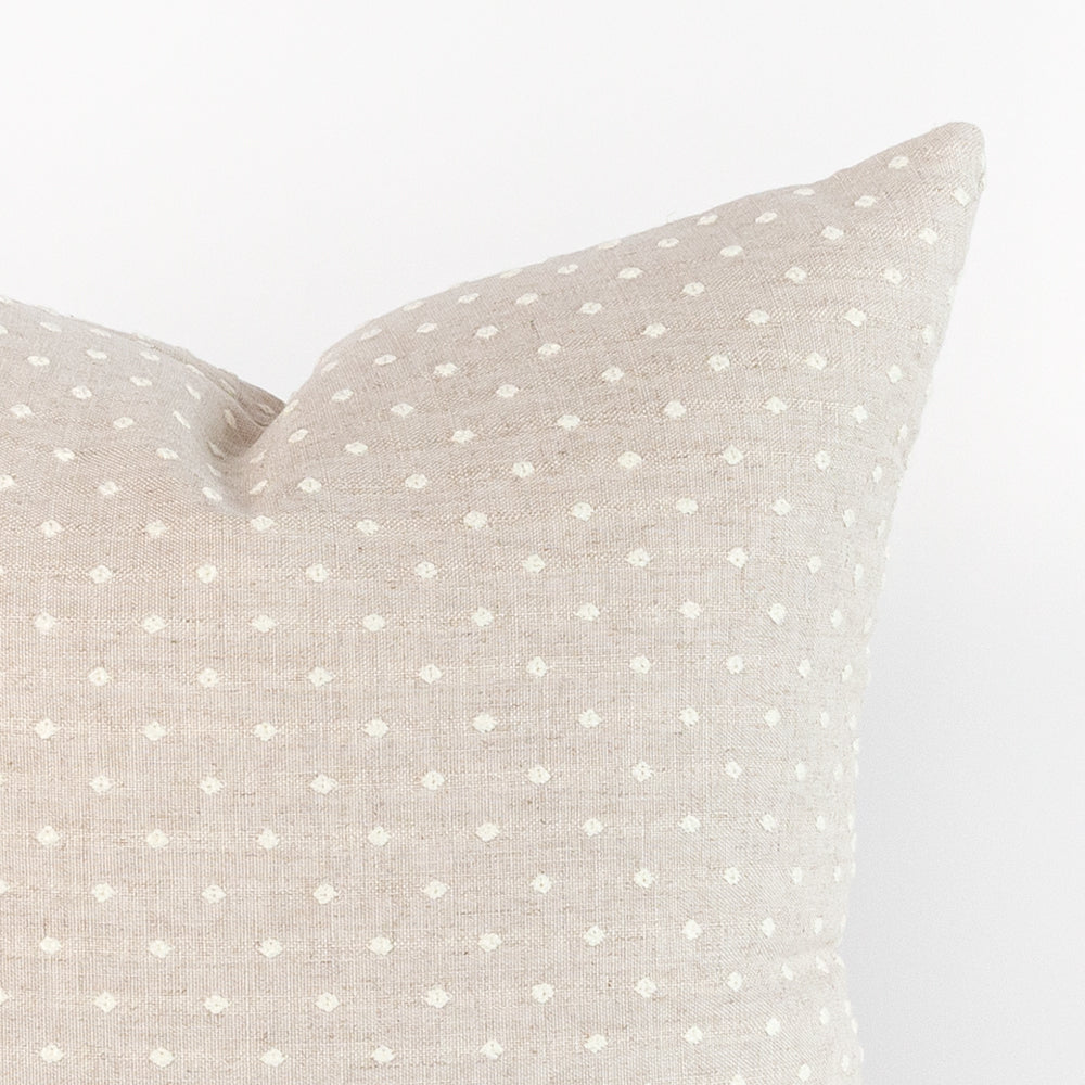 tonal beige dot pillow detail shot