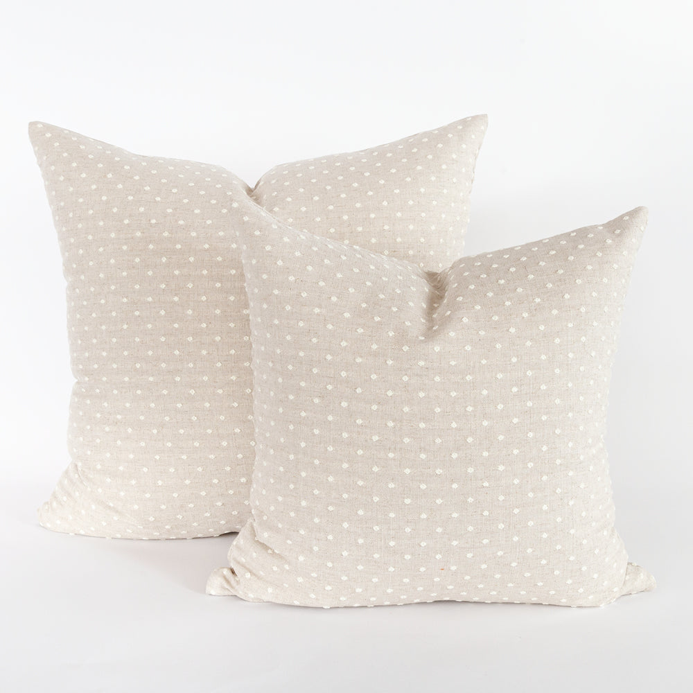 Mila swiss dot beige pillows in two sizes