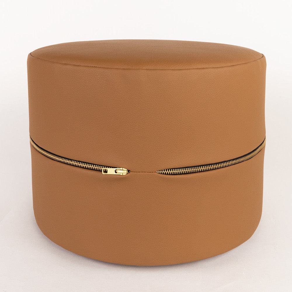 Tate Mini Round Stool, a Saddle brown faux leather mini ottoman from Tonic Living