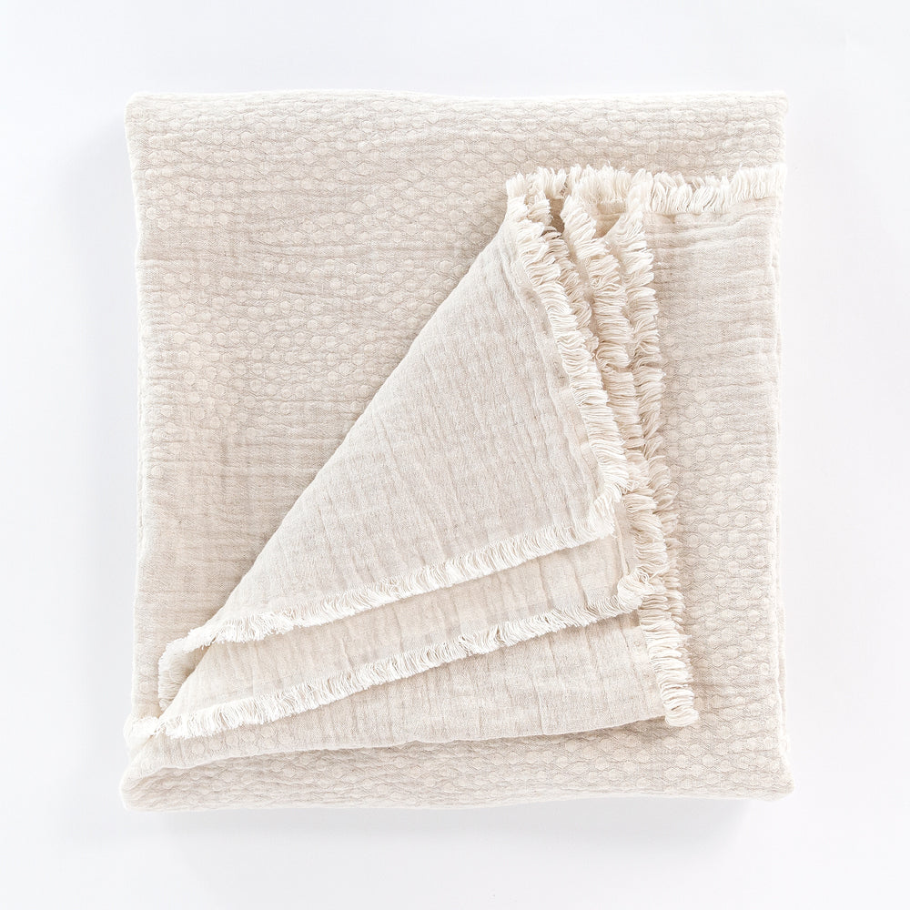 Mira Natural, a beige light weight Portuguese throw from Tonic Living