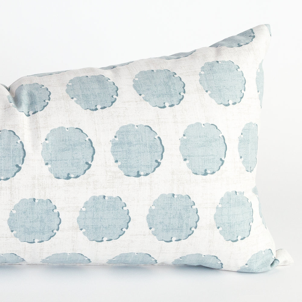 nate blue polka dot extra long pillow from Tonic Living