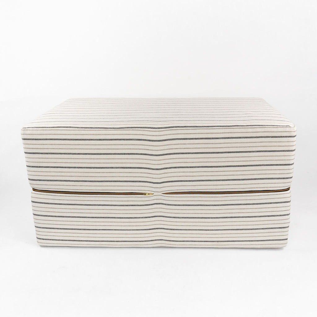 Walter One of a Kind Bench Ottoman, a cream with black and beige stripe foam bench ottoman from Tonic Living