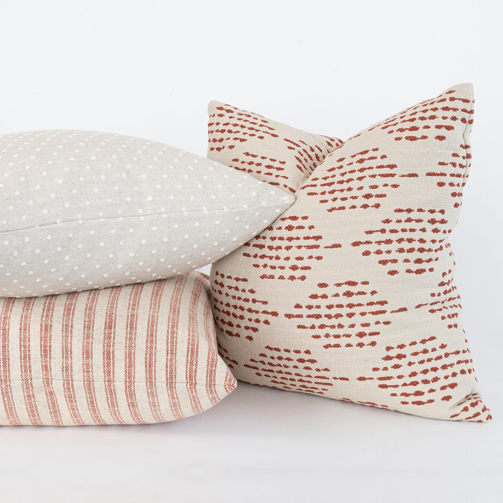 Brick red and cream pillow combo from Tonic Living