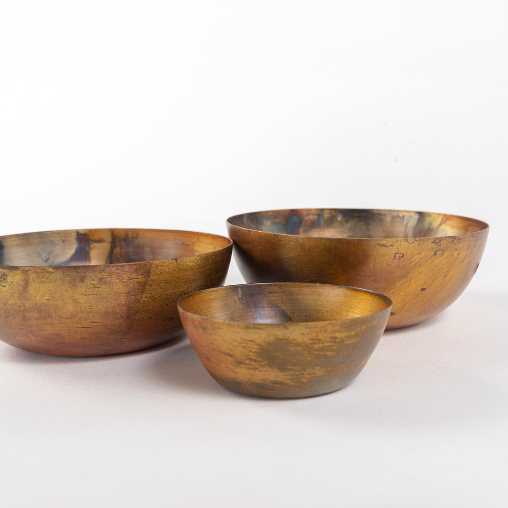 Orion Votive Set, Rust a set of three, copper coloured metal bowls from Tonic Living