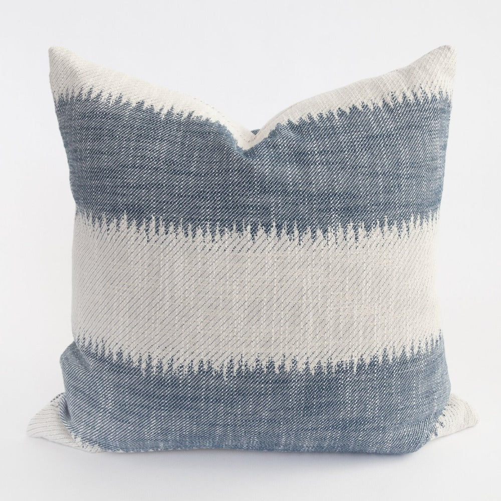 Passagio classic blue ikat stripe pillow from Tonic Living
