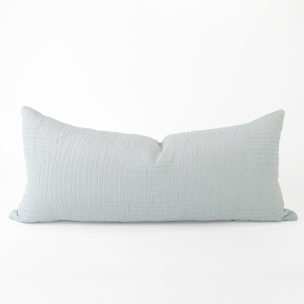 Pollenca extra long pillow, Mist, a quilted mist blue with white stitch Ellen DeGeneres from Tonic Living