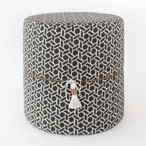 Reed black and white graphic round stool ottoman from Tonic Living