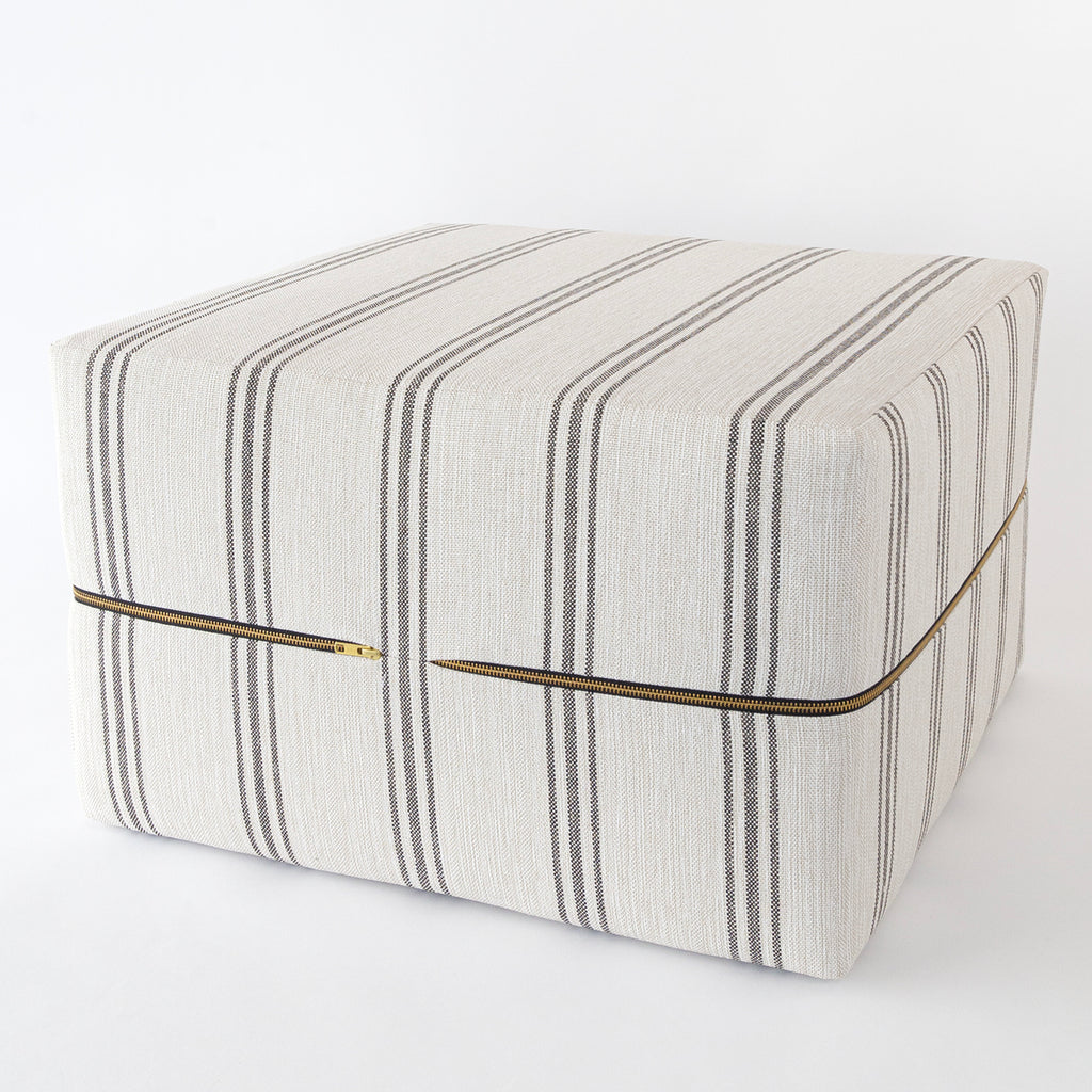 Renfrew Stripe, Charcoal, a cream with grey stripe high performance ottoman from Tonic Living