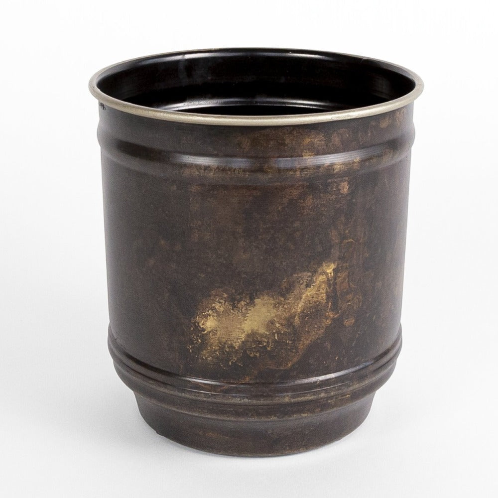 Roman Metal Pot, bronze patina metal plant pot from Tonic Living