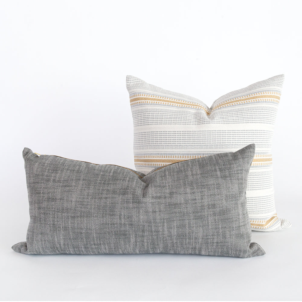 Ryder mink lumbar and Rhodes Outdoor pillows from Tonic Living