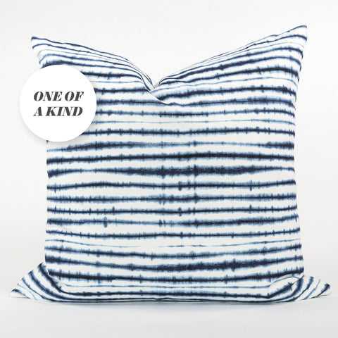 Sonora 22x22 pillow, indigo, a blue and white shibori pillow with brass zip from Tonic Living