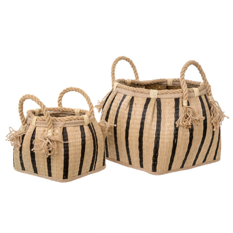 Stripe Basket - Add a global feel to any room in your home with this natural hand-woven stripe basket.