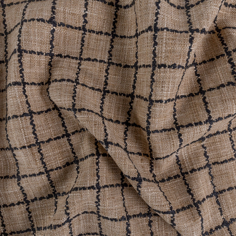 Campobello Check, Natural, a brown and black windowpane fabric from Tonic Living
