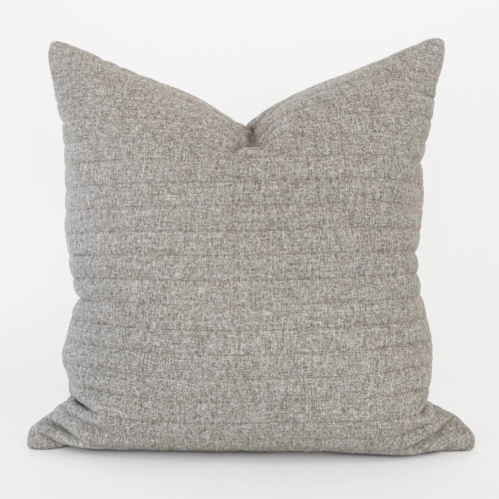 Tobermory Quilted Felt Pillow, Flannel, a grey channel quilt pillow from Tonic Living