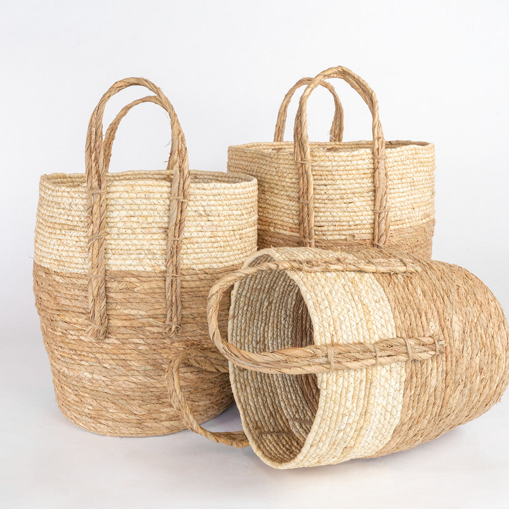 Toledo cream and natural straw set of three nesting baskets from Tonic Living