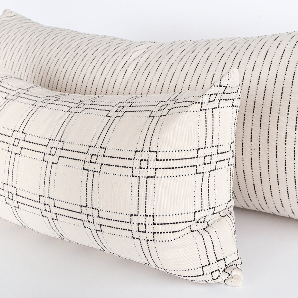 Rita black and white cotton lumbar pillow from Tonic Living
