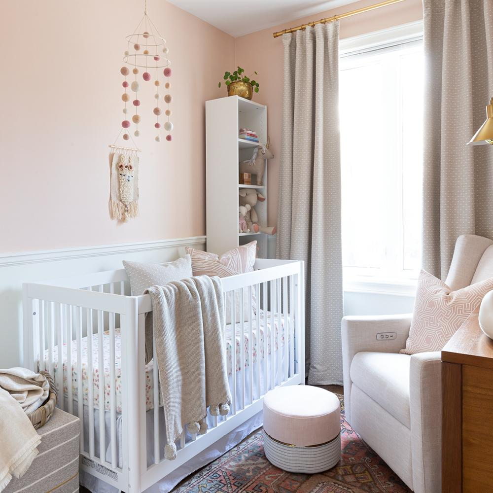Pink Nursery with Amelia ottoman