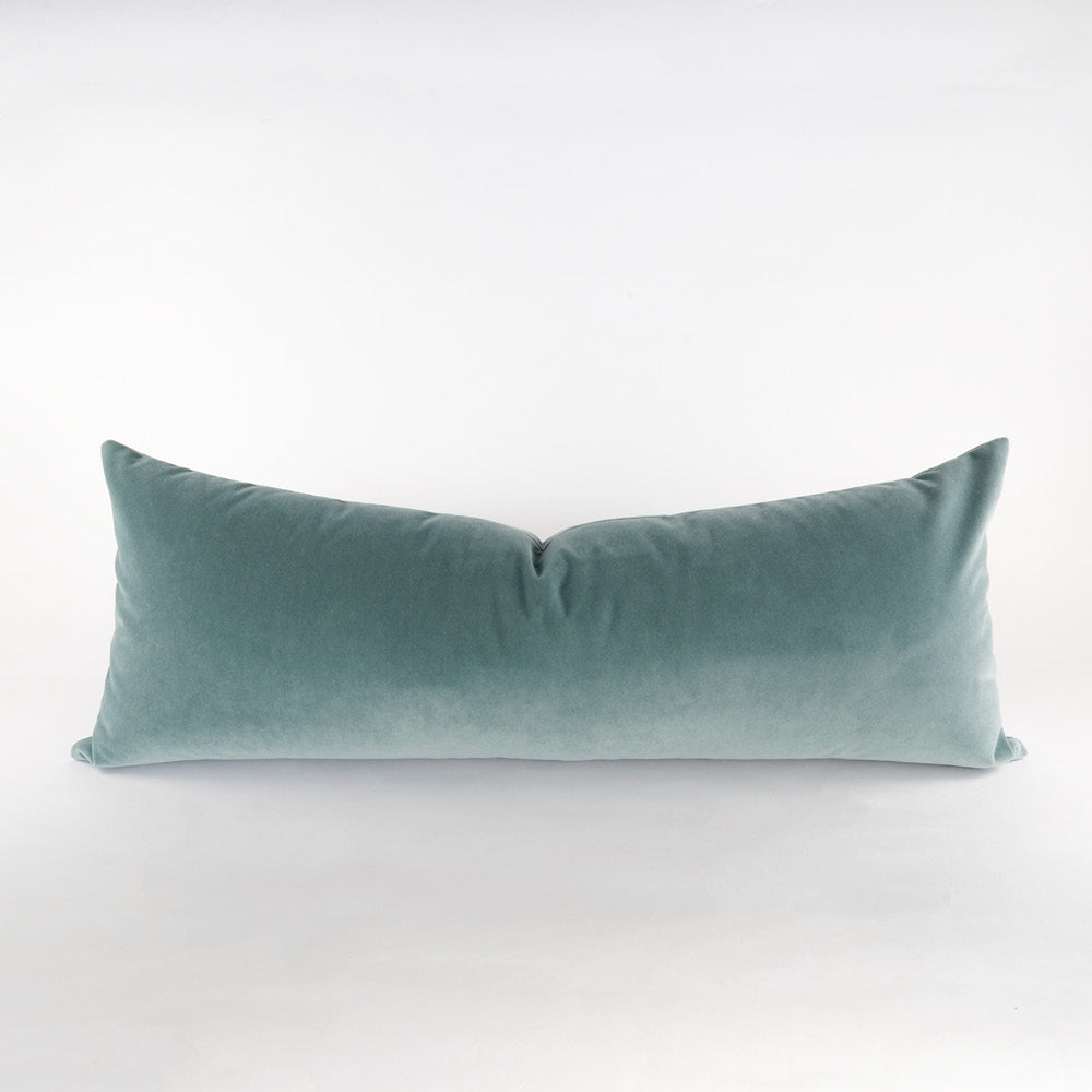 Valentina Velvet Bolster, Mineral, a green blue bed pillow from Tonic Living