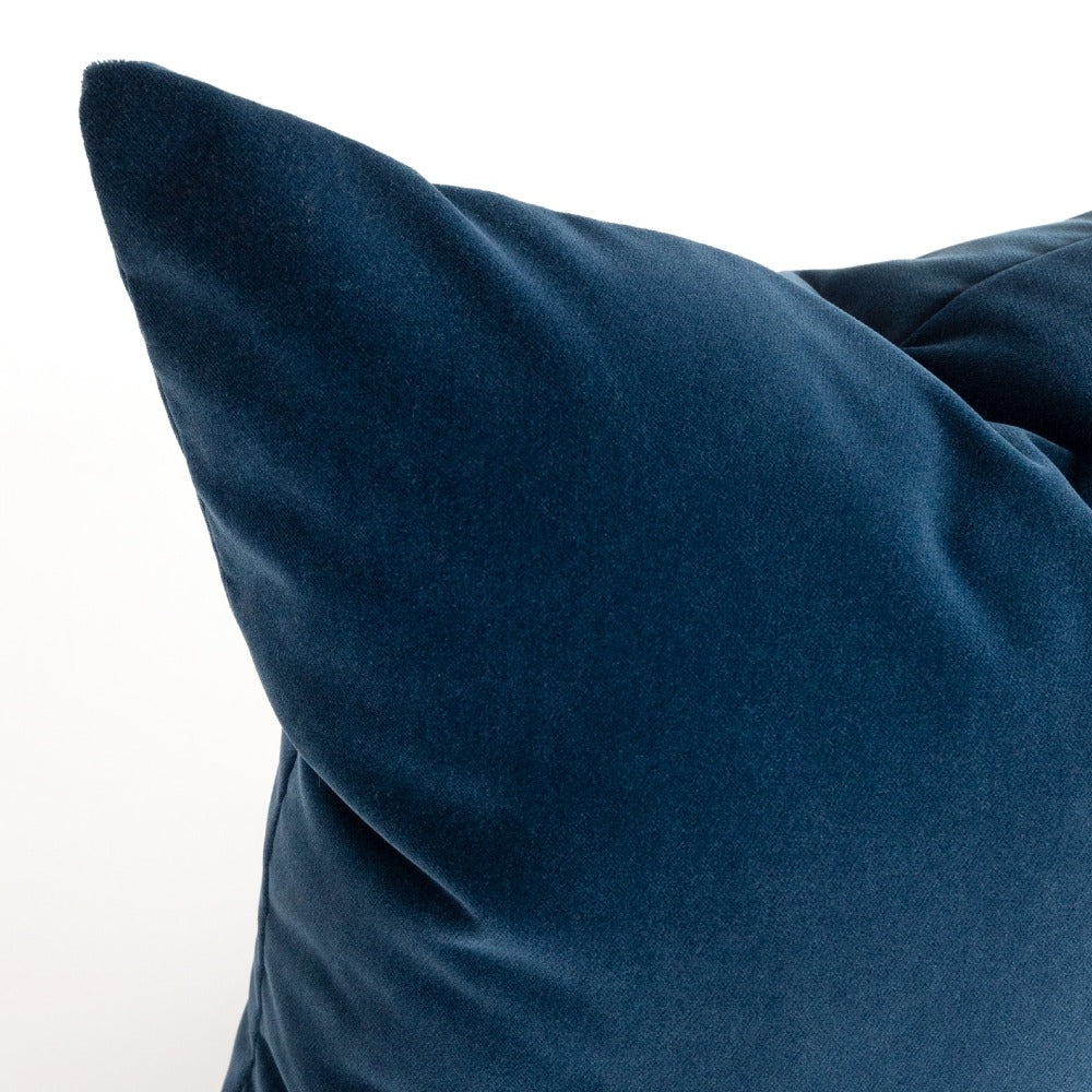 navy blue velvet pillow detail