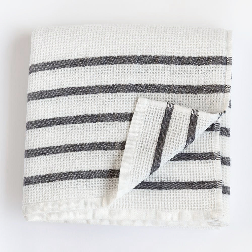 Waffle towel with grey stripe by Tonic Living
