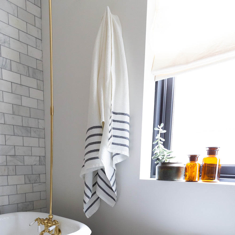 Waffle towel with grey stripe, Tonic Living