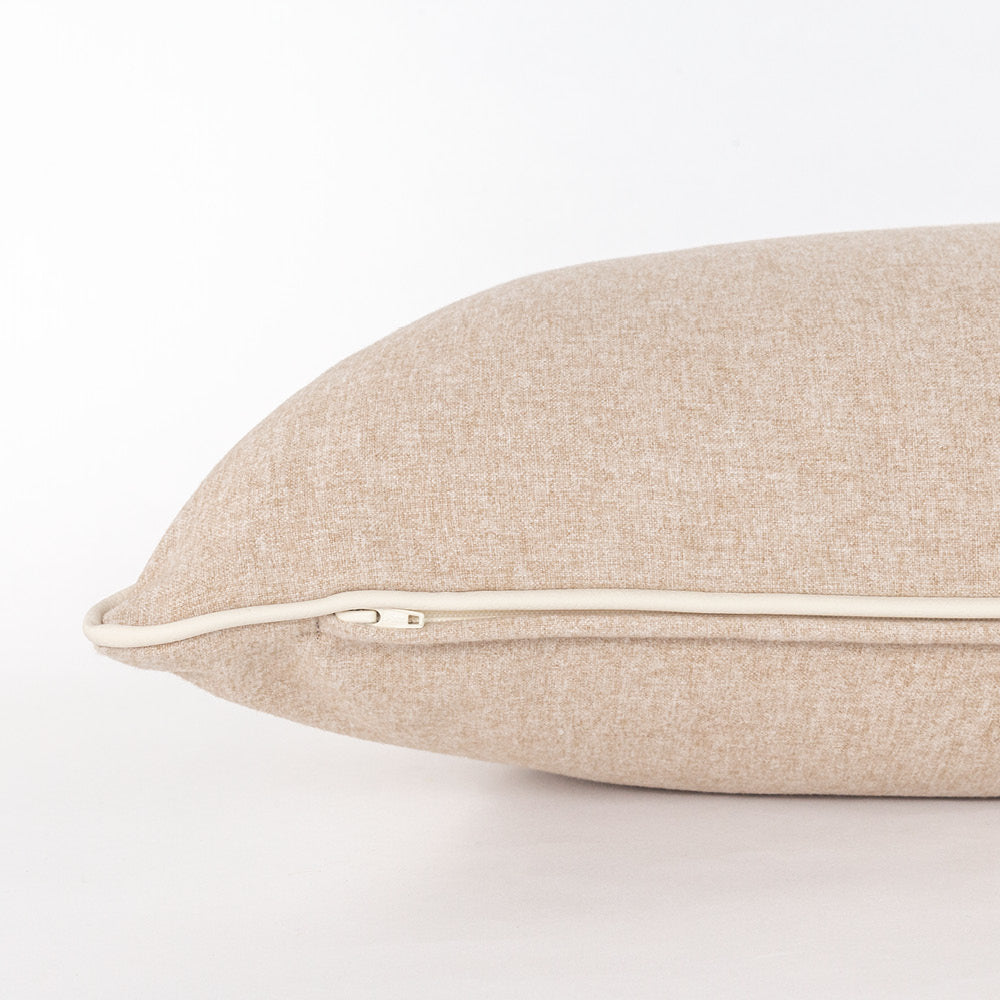 Willow a camel felt with cream piping large lumbar pillow from Tonic Living