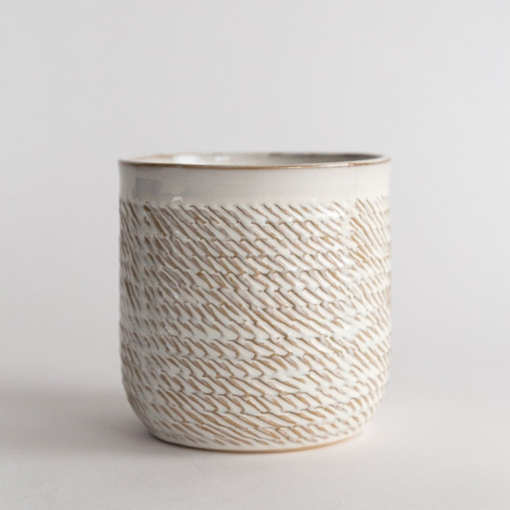 Wilma Ceramic Pot, A cream white and wheat colour textured glazed pot from Tonic Living