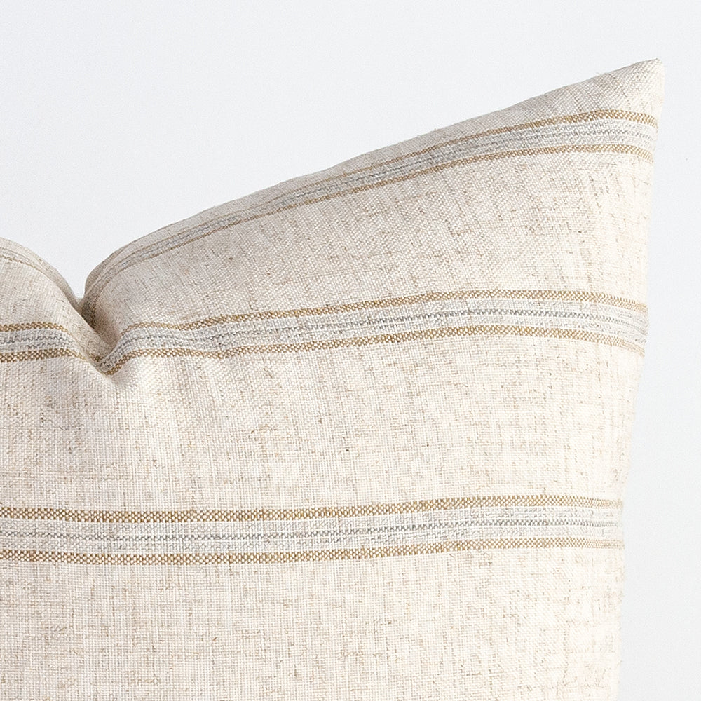 Yarmouth beige grey stripe pillow from Tonic Living