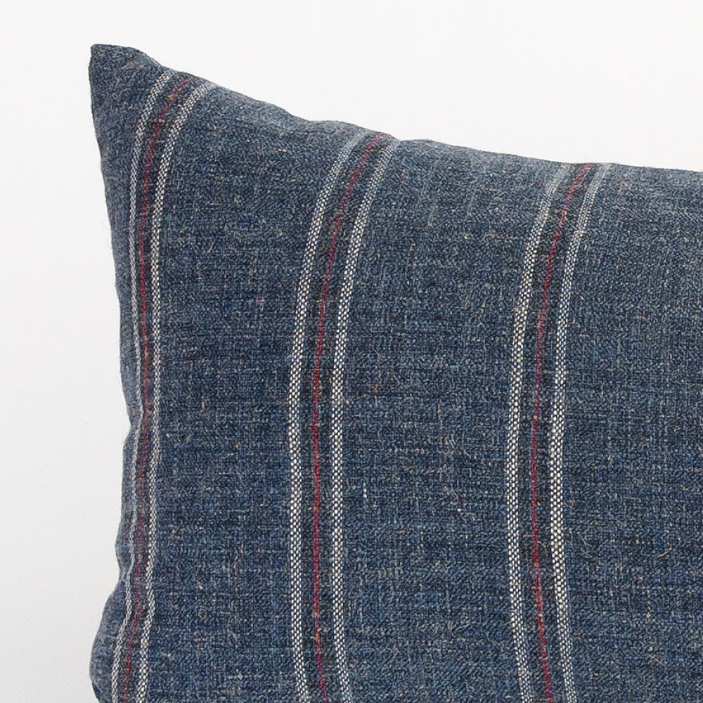 Yarmouth, blue and red stripe coastal lumbar pillow from Tonic Living