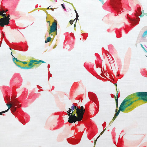 A beautiful watery floral fabric in a fresh blend of saturated coral red, blush pink, green and blue on a white background. Suitable for drapery, upholstery, roman blinds, cushions, pillows and other home decor accessories.