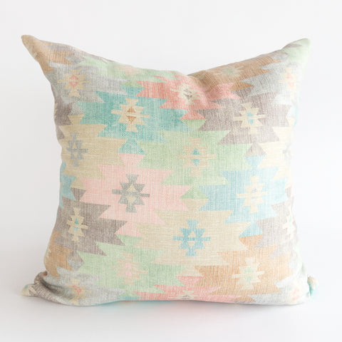 Arlo pastel multicoloured southwestern pillow with reversible grey striped back