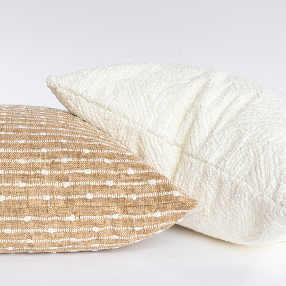 Arren and Shantay, textured neutral pillows from Tonic Living