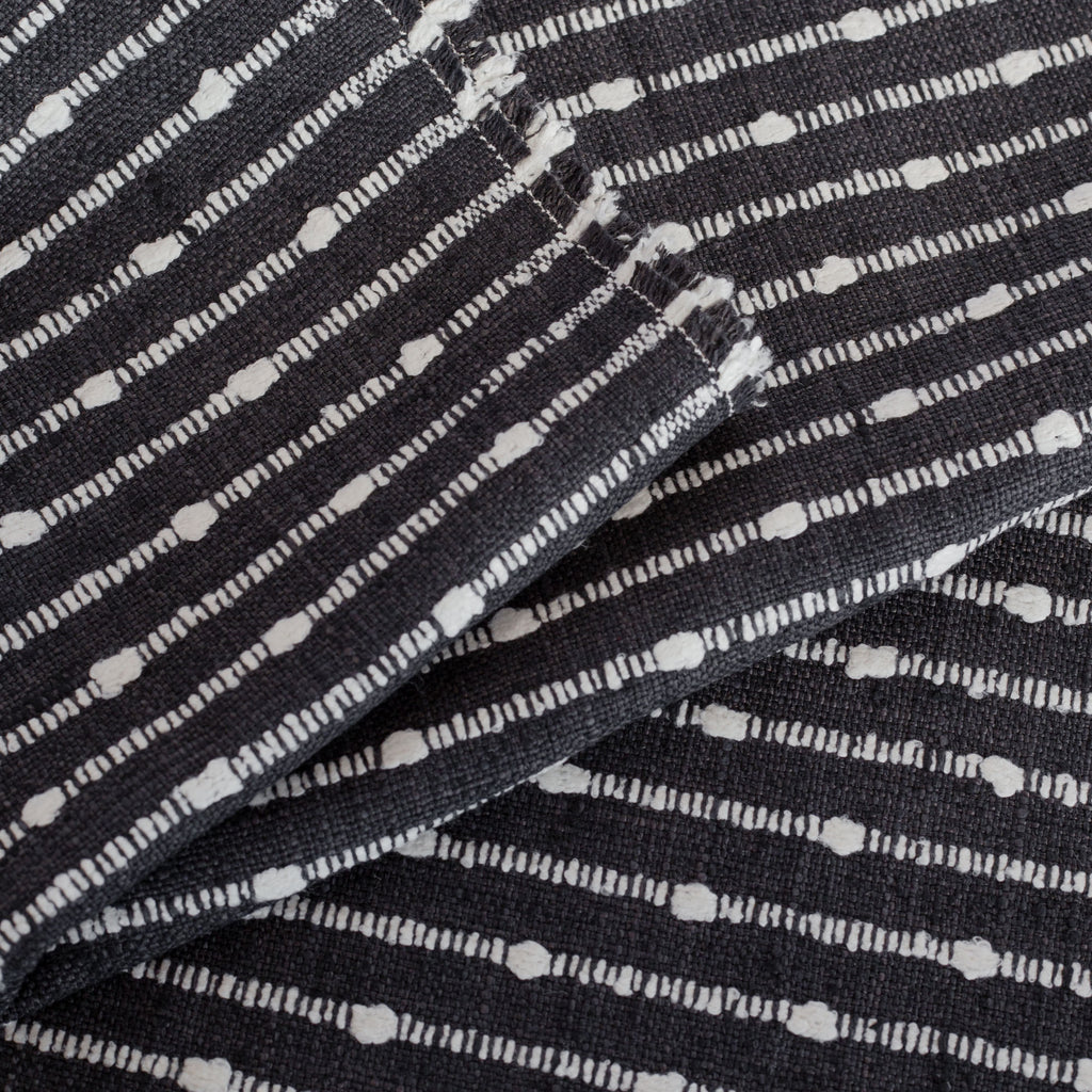 black and white nubbly stripe fabric
