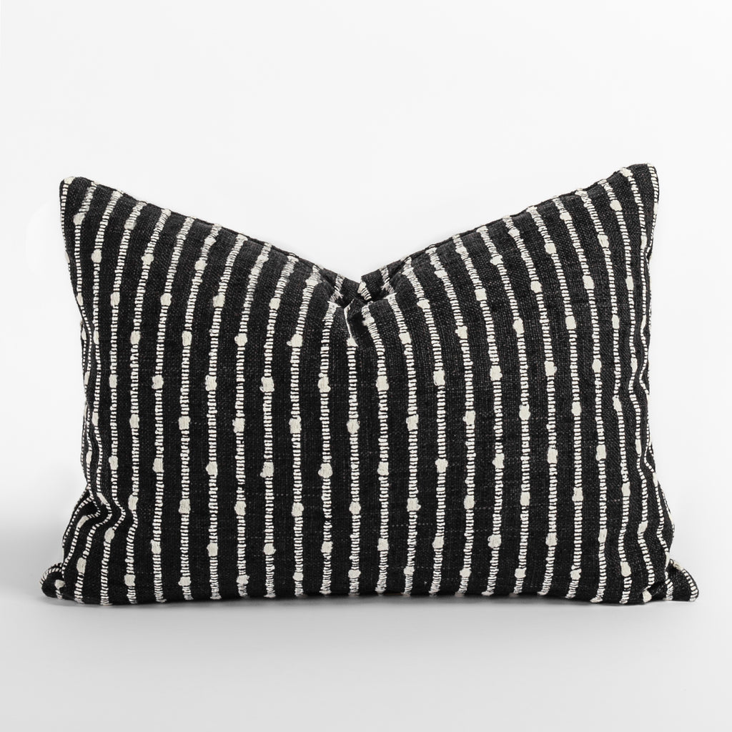 Arren stripe black and white lumbar pillow from Tonic Living