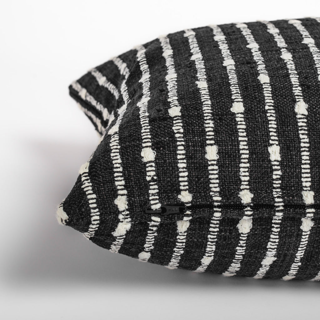 black and white stripe lumbar throw pillow zipper detail