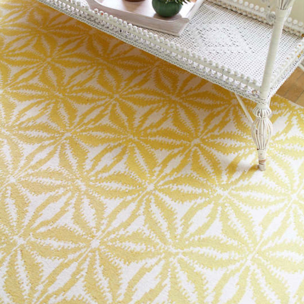 Aster yellow starburst Dash and Albert rug available at Tonic Living