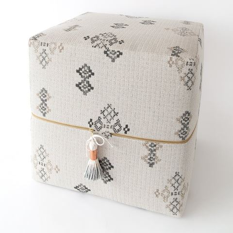 Austin Cube Ottoman, putty light grey southwestern, high performance pattern