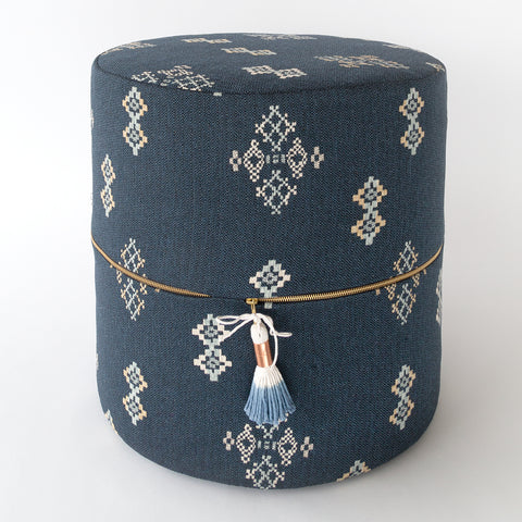 Austin Round Ottoman Stool, Indigo navy southwest pattern in high performance fabric