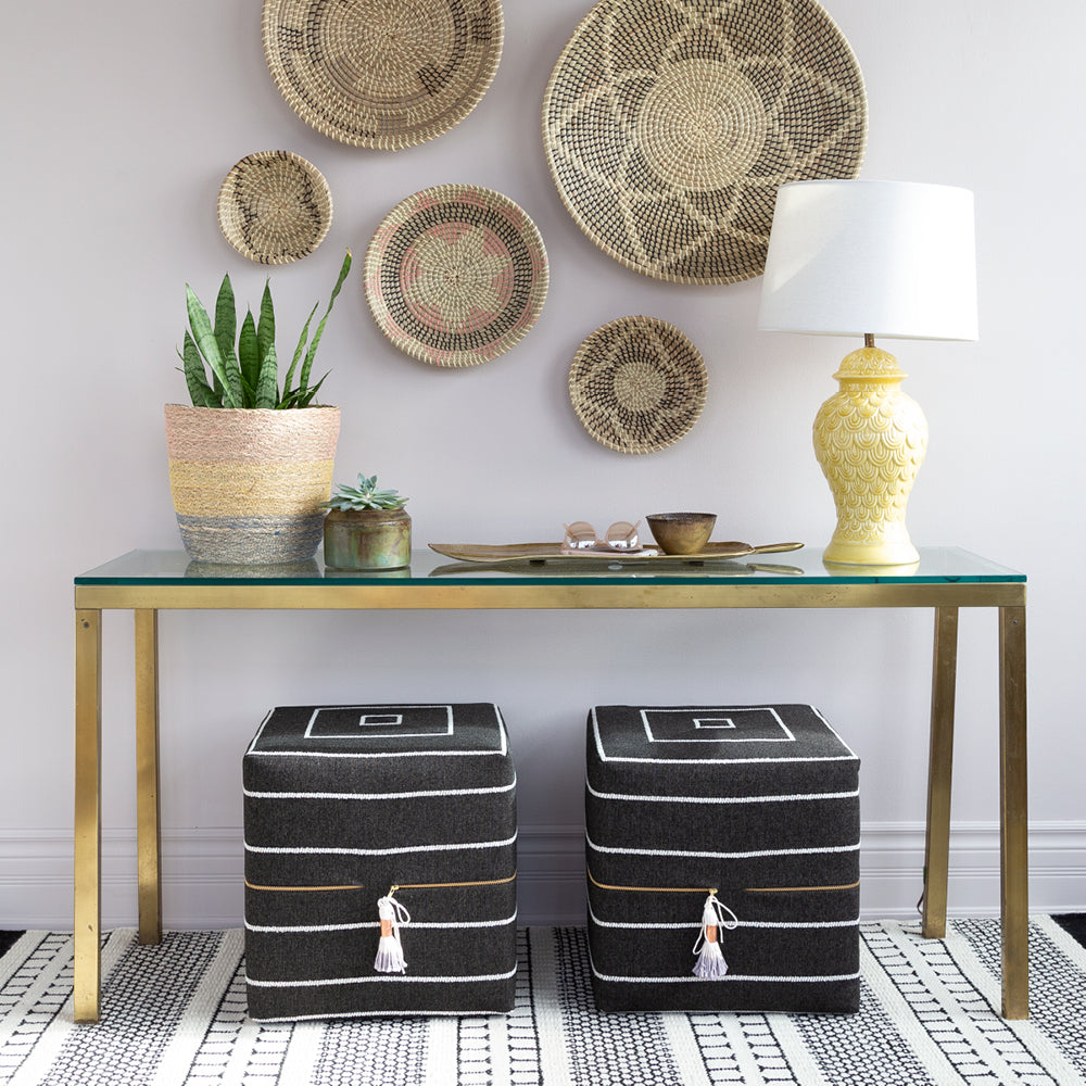 Avalon Cube Ottoman, Ebony black and white stripe, high performance