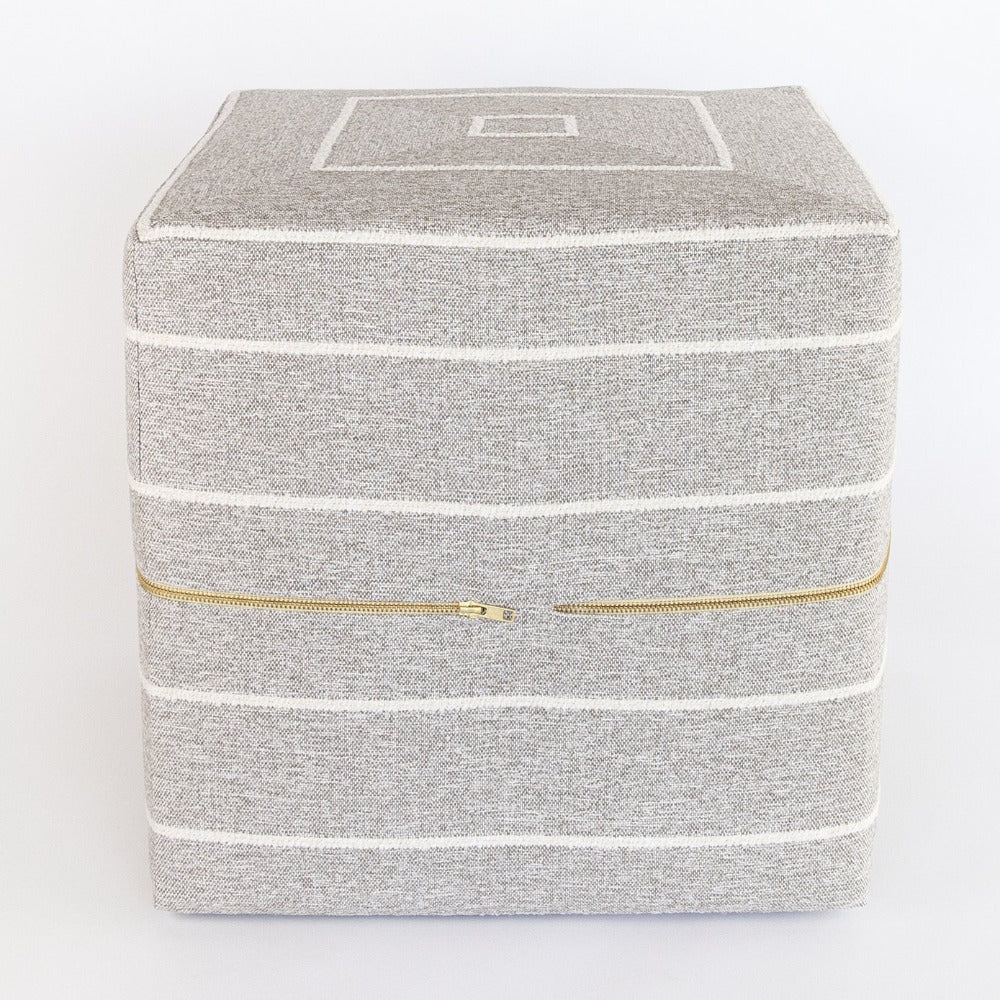 Avalon Cube Ottoman, Warm Gray and white stripe, high performance