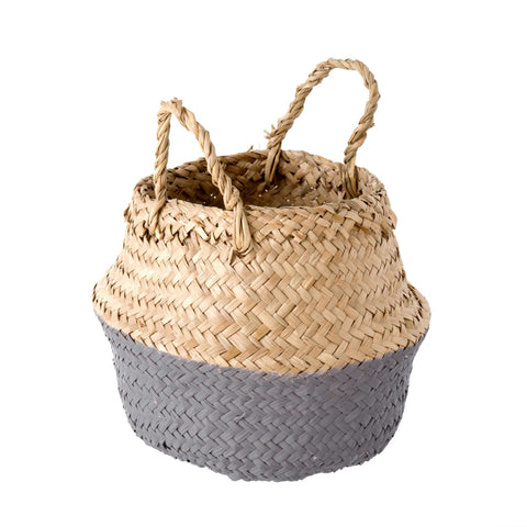 Baby Belly Basket, Grey Dip - This natural hand-woven belly basket is perfect for display and organization.
